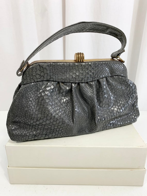 1940's Faux Snakeskin Vinyl Handbag with Deco Styl