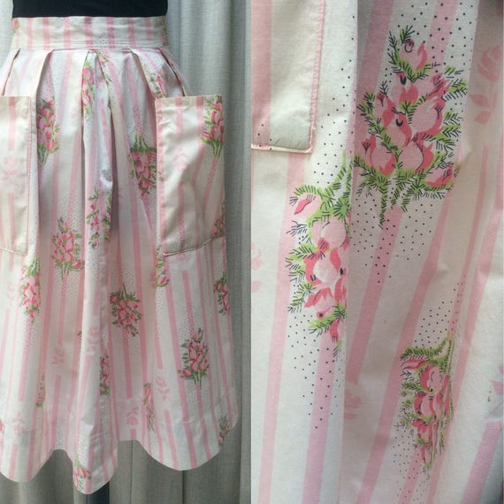 pink and white candy stripe full Vintage 50/'s box pleat skirt