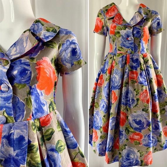 Fifties Vibrant Blue & Orange Rose Print Full Skir