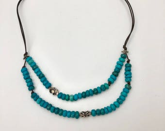 Genuine turquoise, bali silver, leather necklace