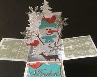 Beautiful snowman Christmas card with many small details handmade