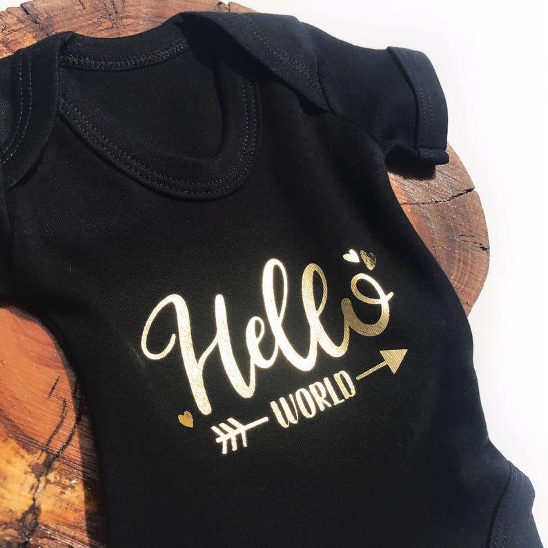 Body croître tenue de nouveau bébé fille garçon cadeau Bonjour World Personnalisé Bébé Gilet