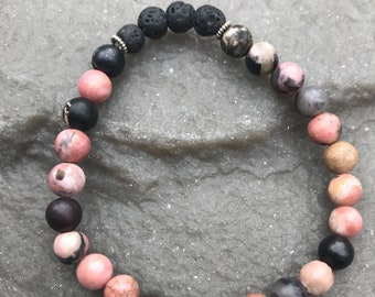 Essential Oil Lava Bead Diffuser Bracelet, Rhodonite