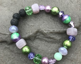 Essential Oil Lava Bead Diffuser Bracelet, Purple and Green