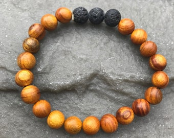 Essential Oil Lava Bead Diffuser Bracelet, Wooden Beads