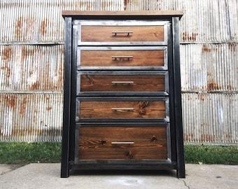 Custom Industrial Dresser, Chest of Drawers, Wardrobe, Armoire