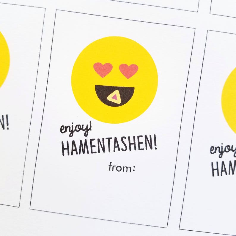 Printable Purim Gift Tags  Hamentashen image 0