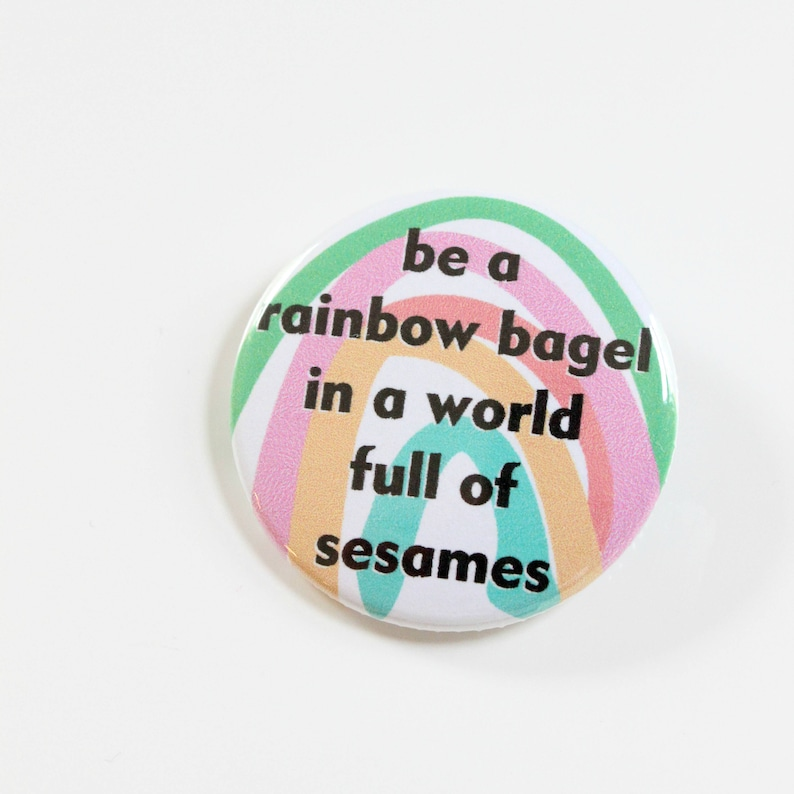 Rainbow Bagel Button Or Magnet image 0