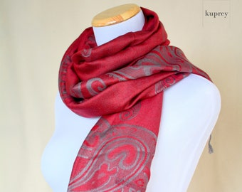 Red maroon Pashmina Scarf / merlot scarf / fashion scarf / dress scarf / evening scarf Gift for her for Girlfriend for wife for grandmother