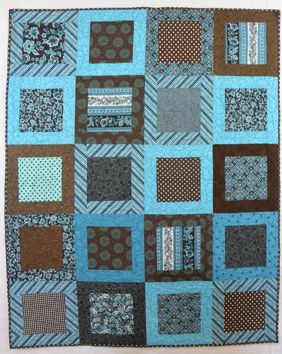 Turquoise And Chocolate Quilt Etsy