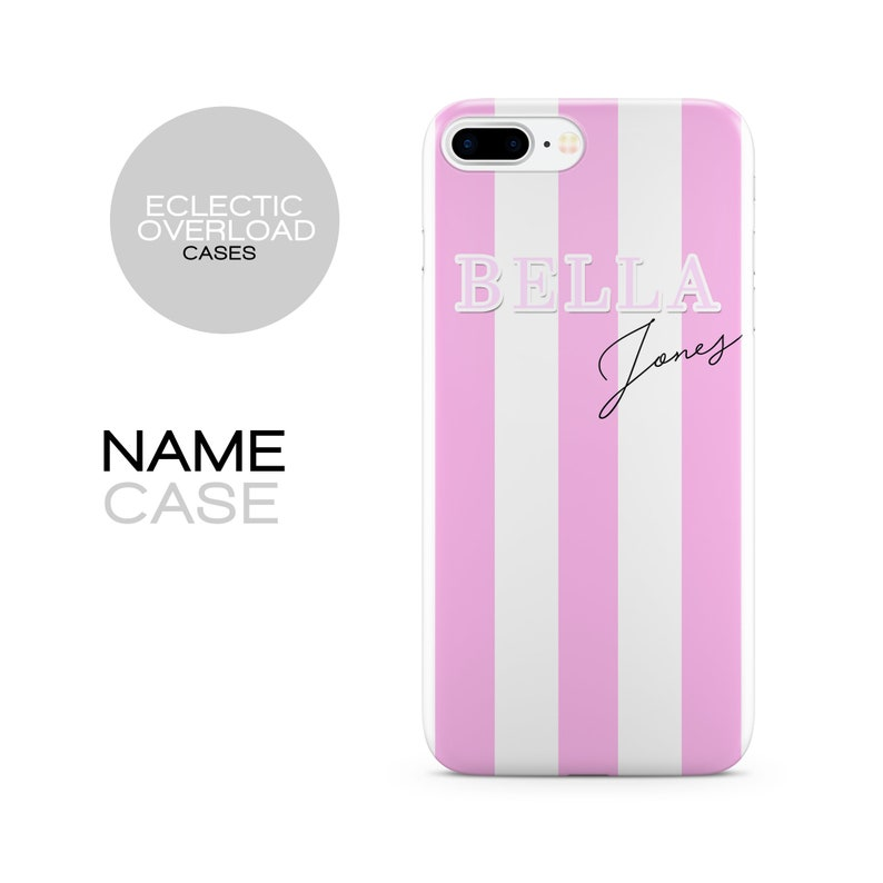 timeless design d47bc 0e17b Personalised Pink Stripe Name Phone case, iPhone Xs Case, iPhone Xs MAX  Case, iPhone XR Case, 7, X, 8, initial, personalized iPhone Case,