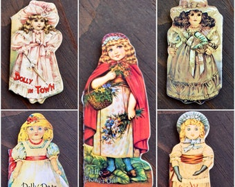 Mini Die Cut Doll Books Merrimack Doll Books for Girls and Boys, Victorian Dolls, Collector's Set of Five, Antique Replica Die-Cut Books