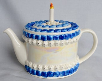 Birthday Cake Teapot by Tony Carter with Candle
