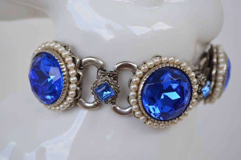 Blue Bracelet Glass Stone Pearls Mid Century