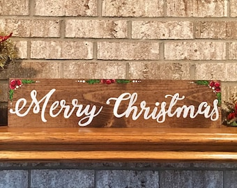 Hand-painted Merry Christmas Wood Sign, Christmas mantle decor, Merry Christmas wood sign