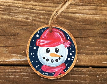 Hand-painted snowman wood slice ornament, hand-painted snowman ornament, rustic snowman ornament