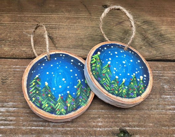 Hand Painted Christmas Tree Wood Slice Ornament Night Sky Ornament Hand Painted Wood Slice Woodsy Tree Decor