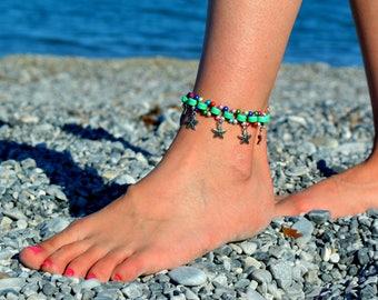 anklets, Star Charm ANKLE Bracelet green beaded Anklet Tribal summer anklets  Boho foot jewelry beach anklets bare feet anklets for women