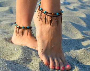 anklets, anklets with feather, summer anklets, barefoot jewelry, foot jewelry, ankle bracelet, body jewelry, beach anklets, ankle bracelets
