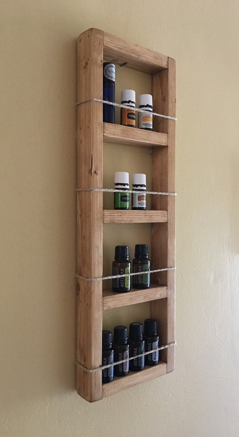 Tall Skinny Mini Wooden Box Essential Oil Storage Shelf With Hempcord Essential Oil Rack Essential Oil Organizer