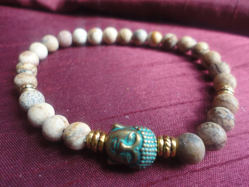 B109 Picture Jasper Buddha Semi Precious Gemstone Stretch Bracelet