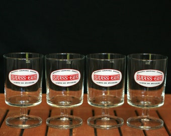 Handmade Vintage French School Stamp Beer Glass