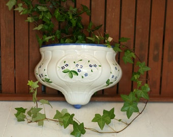 Succulent planter jardiniere centerpiece. French vintage plate warmer for table