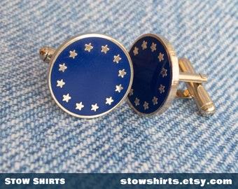 395ae2b6c3aa European Union flag cufflinks boxed, EU flag enamel cufflinks, European cuff  links, EU metal cuff links