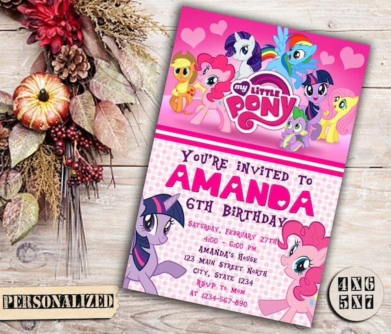 Moje Zaproszenie Little Pony Moje Zaproszenie Na Urodziny Etsy