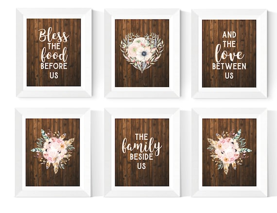 Rustic Kitchen Wall Art Printables Dining Room Prints 6 Set Floral Kitchen Art Rustic Dining Room Decor Instant Download