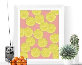Lime Slices Art Printable | Green and Pink | Art Printable | Modern | Fruit Art | Kitchen Art | Tropical Art | Citrus | Food