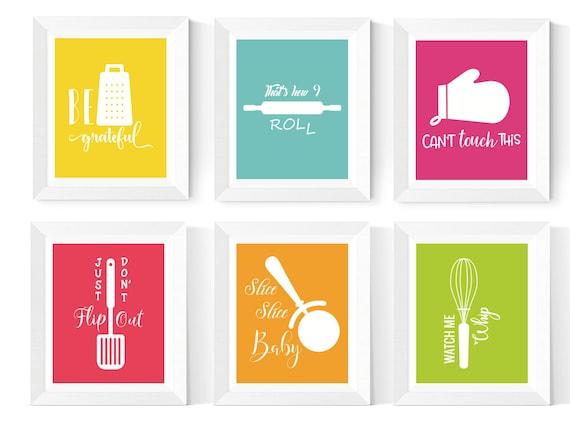 kitchen wall art printables 6 set kitchen art bright | etsy
