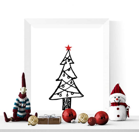 Contemporary Christmas Tree.Christmas Tree Printable Red Star Black And White Christmas Printable Modern Christmas Decor Contemporary Decorations