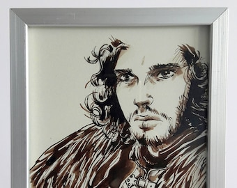 GAME OF THRONES Jon Snow - Original ink with a frame design