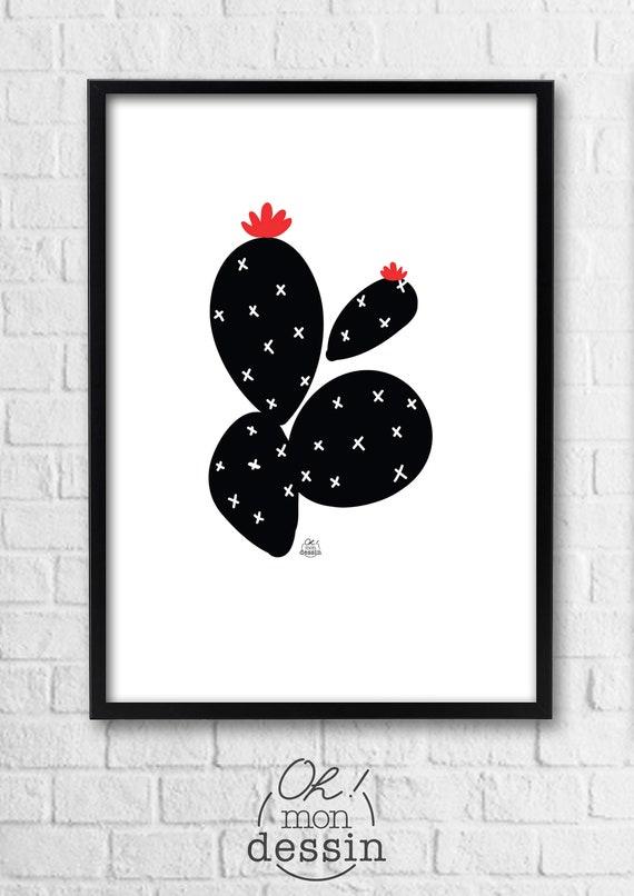 Affiche Cactus Motif Noir Blanc Rouge Exotique Jungle Poster Tropical Tendance Cadeaux Vegetal