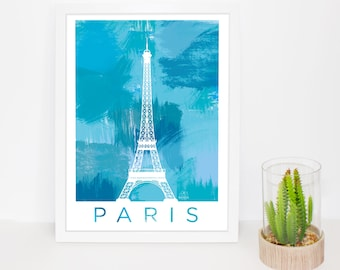 Eiffel Tower Paris poster, Paris, France print, poster, wall art watercolor painting prints of the city, gift, decoration, travel