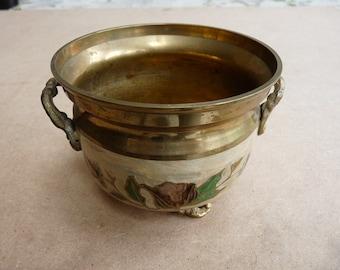 Vintage Enamelled Brass Bowl