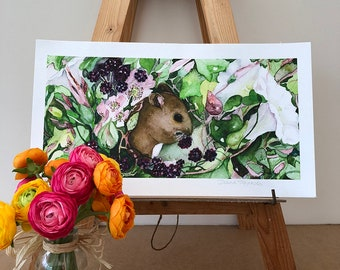 Mouse in the Blackberries - Limited Edition Giclee Print