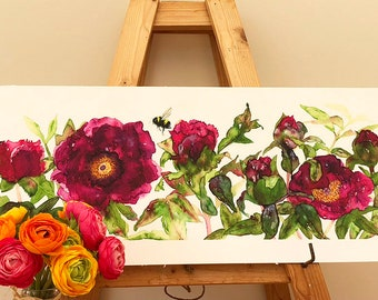 The bee in the Peonies - Limited Edition Giclee Print