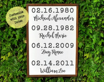 Special Dates Sign, Dates Sign, Important Dates Sign, Custom Family Sign, Anniversary Gift, Birth Date Sign, Housewarming Gift for Family