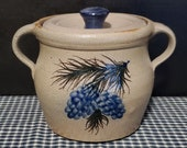 Rowe Pottery Works-Lidded Crock-Cambridge WI-Pinecone Design-Stoneware-Handmade-Studio Pottery-Signed-7 Cups 56 oz