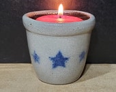 RPW-Miniature Crock W Stars-Votive Candle-Rowe Pottery Works-Cambridge WI-Salt Glazed-Grey, Blue Brown-2 1 2 quot Tall-Stamped-Signed