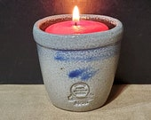 RPW-Miniature-Crock-Votive Candle Light-Rowe Pottery Works-Cambridge WI-Salt Glazed-Grey, Blue Brown-2 1 2 quot Tall-Stamped-Signed