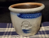 RPW-Minature-Crock-Votive Candle Light-Rowe Pottery Works-Cambridge WI-Salt Glazed-Grey, Blue Brown-2 1 4 quot Tall-Stamped-Signed