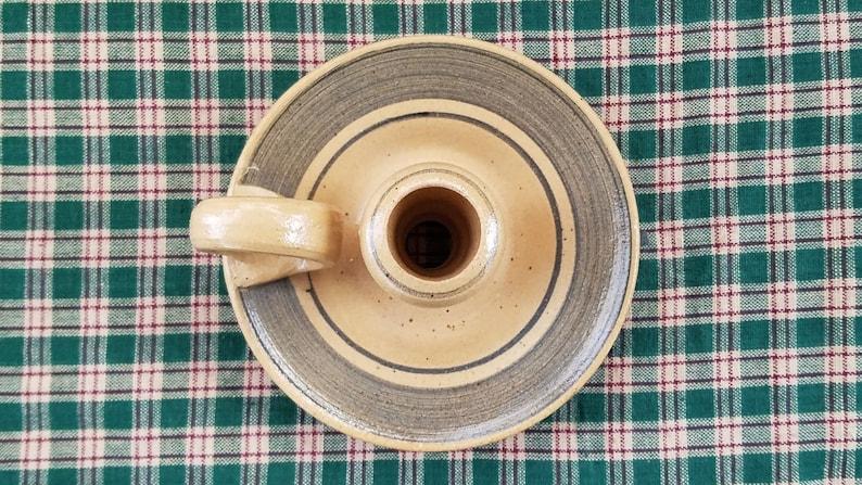 Candle Holder Chamberstick J Henderson Artifacts Stoneware Handmade Studio Pottery Signed