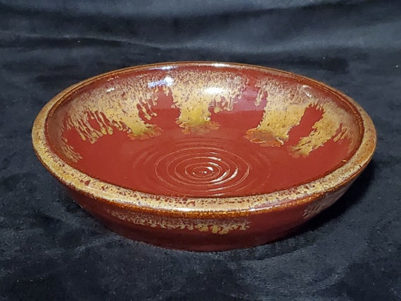 Trinket Dish-Watch Neclace Earring Holder-Handmade-Studio Pottery-Teal Red /& Brown-8 34 Long-Signed TC