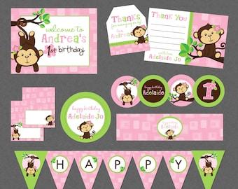 Girl monkey birthday Etsy