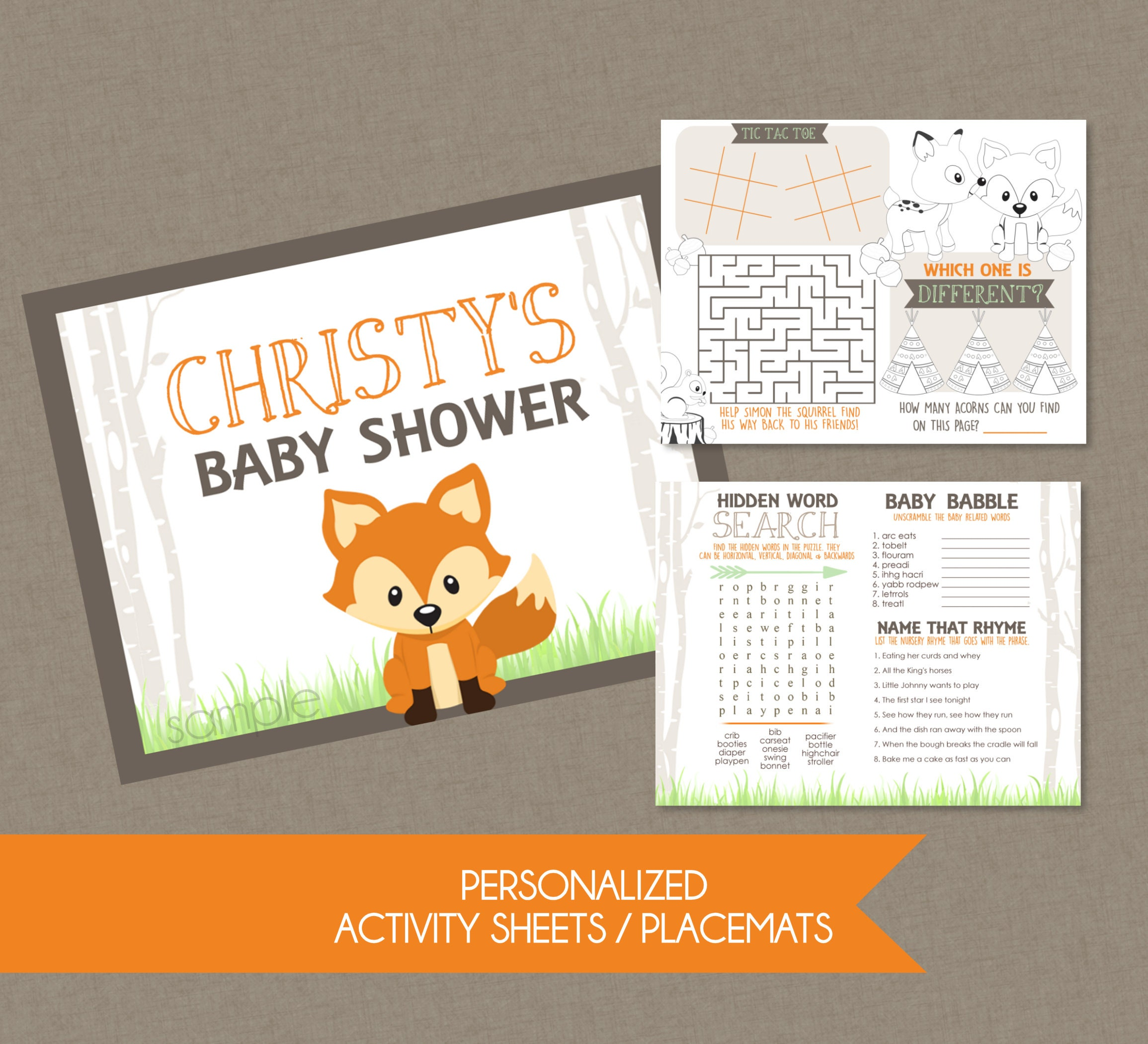 Woodlands Fox Baby Shower Activity Sheet Placemat Adult And Etsy