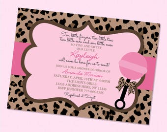 Leopard baby shower etsy leopard pink baby shower invitation filmwisefo