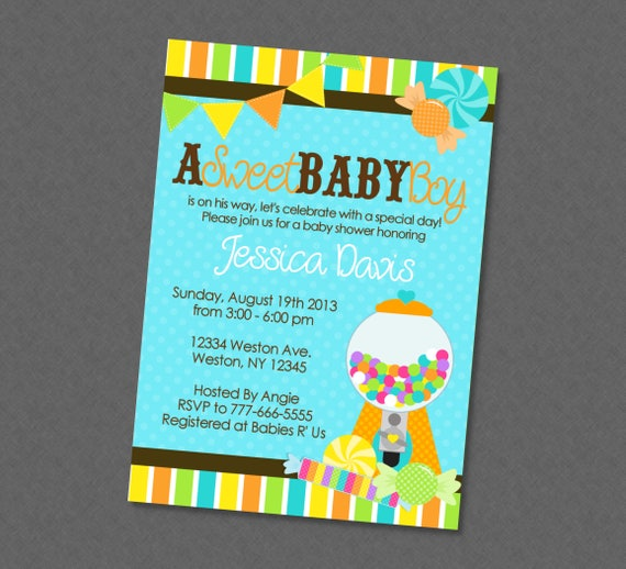 Sweet Baby Boy Candy Shower Invitation Candy Baby Shower Sweet